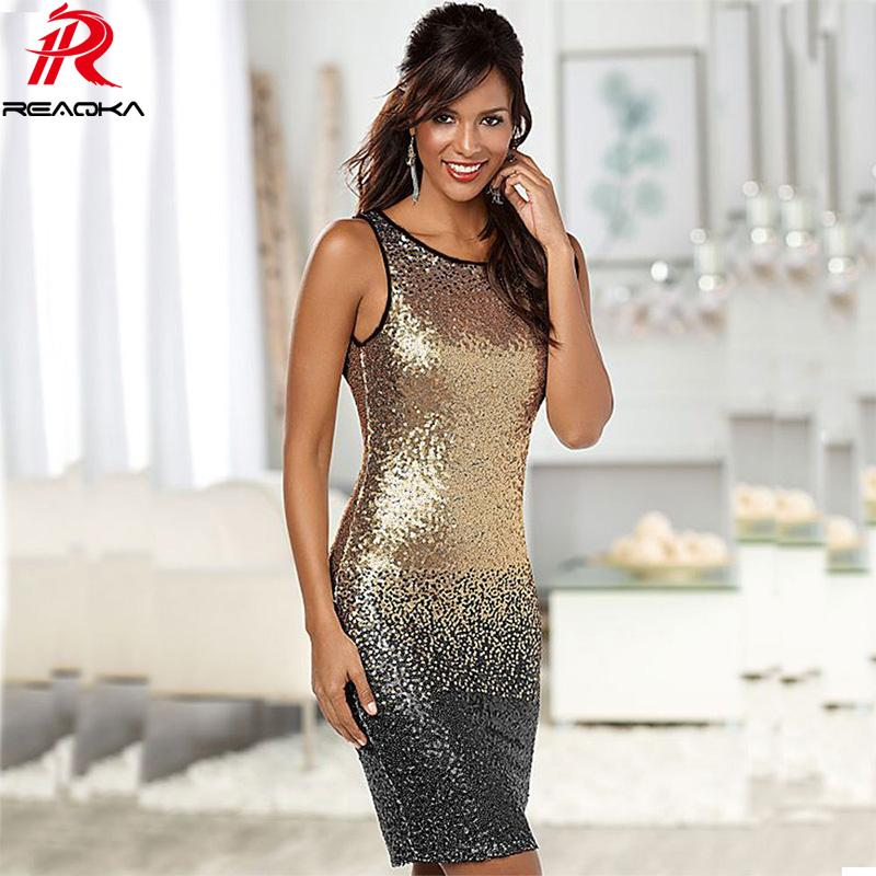 3da165e94e Reaqka Sexy 2018 Gradient Color Summer Sequin Dress Women Sleeveless ...