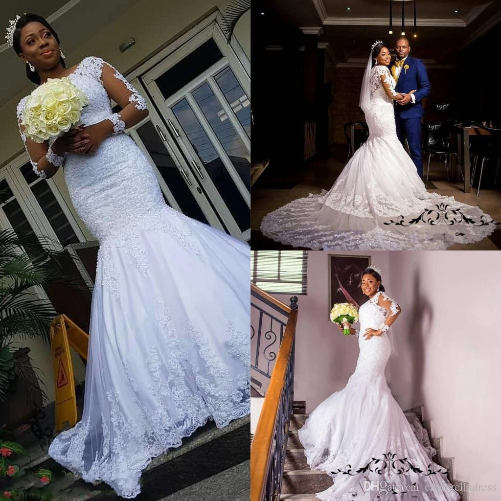 Vintage New Lace Mermaid Wedding Dresses 2019 Long Sleeve