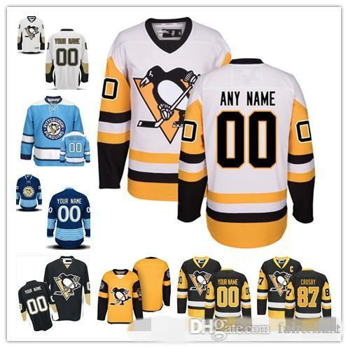 check out a9a13 bc7a0 Custom Pittsburgh Penguins 2019 Yellow Third Jersey Any Number Name men  women youth kid White Blue Navy DeSmith Letang Crosby Malkin Kessel