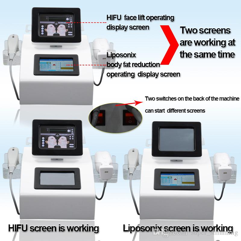 Dual screen HIFU Liposonix ultrasound face lifting weight loss machine 2 in 1 used spa equipment with 5 cartridges