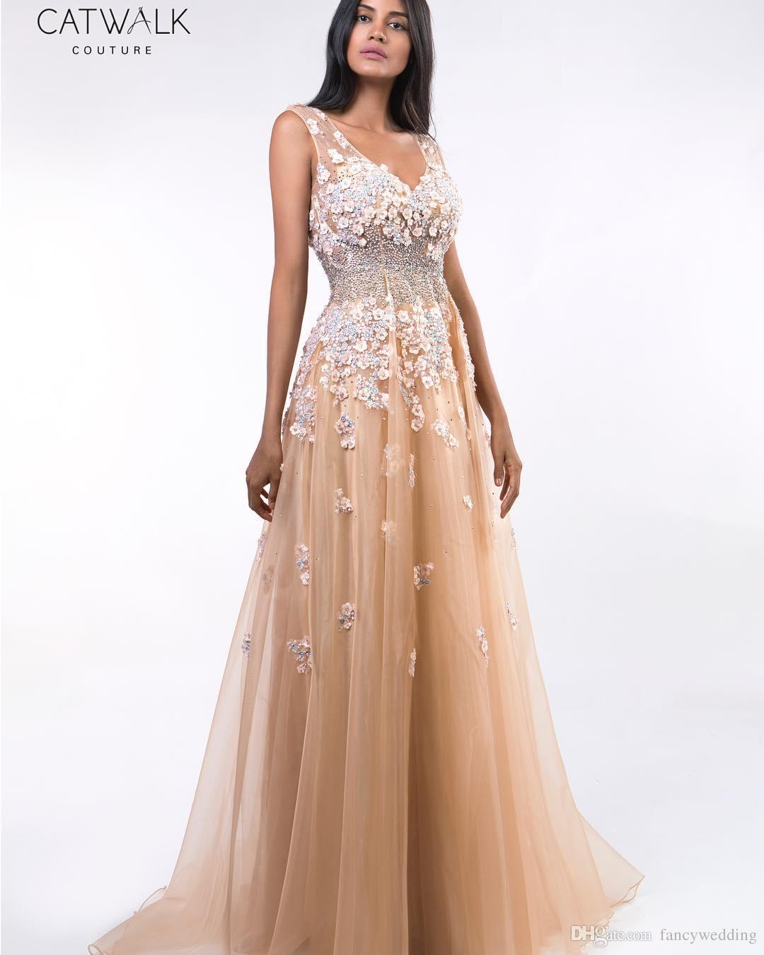 Champagne Beaded Lace 2019 African Evening Dresses Deep V-enck A-line Prom Dresses Sexy Formal Party Bridesmaid Pageant Gowns