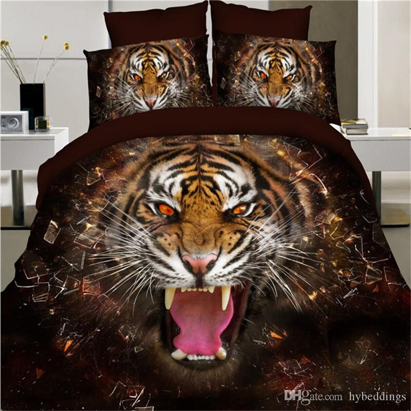 3D Animal Bedding Set Tiger Wolf Horse Dog Lion Peacock Duvet Cover Flat Sheet Pillowcases Polyester Bedclothes Full Size 4PCS Bedlinen