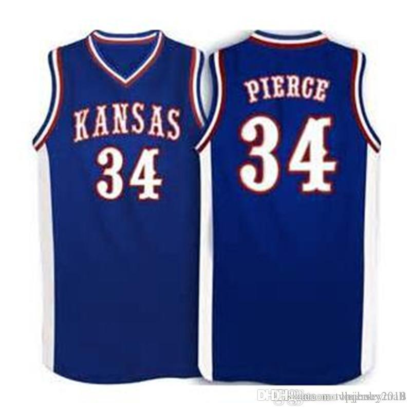 more photos c4a76 6240d #34 Paul Pierce Kansas Jayhawks KU College Basketball Jersey Men White Blue  Embroidery Stitched Custom Any Number and Name Jerseys
