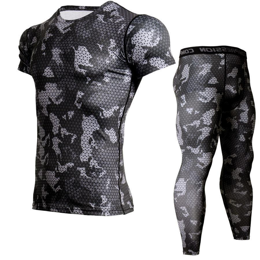 Mma Muscle Men Tracksuit Compression Set T Shirt Men Fitness Tights Short Sleeeve Shirt Legging Gyms Crossfit Clothing 2pcs/sets
