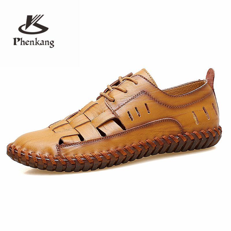 Men Summer Sandals 2019 Men S Cow Leather Outdoor Male Flat Shoes