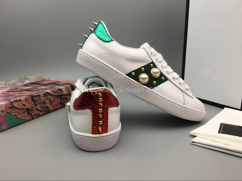 New Arrival Kids ACE Genuine Leather Sneakers Luxury Spikes Pearl Stud Boy Girls Casual Shoes Designer Toddler G Flats