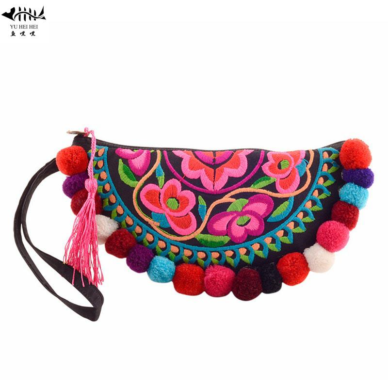 Unique Chinese Embroidery Vintage Fashion Women Wallet Coin Purse Bag Colors Balls Wrist Bohemian Wallets Women's Handbags Bags