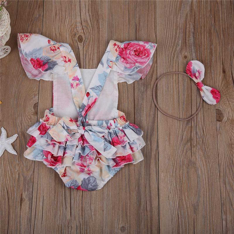 Sevimli Yaz Kız Bebek Çiçek Bodysuits Yenidoğan Çocuk Kız Ruffles Çiçek Backless Bodysuit Jumpsuit Kafa Sunsuit Giyim