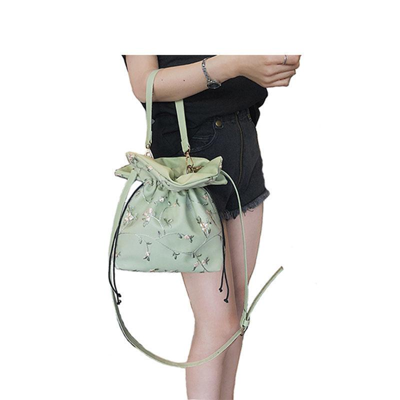 good quality Women Leather Handbags Lace Embroidery Bucket Shoulder Bags Ladies Cross Body Bags Large Capacity Ladies Shopping Bag