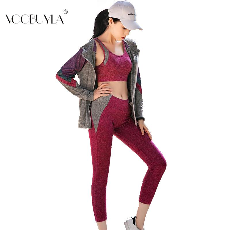 2019 Voobuyla 2019 Spring Yoga Suits Women Gym Clothes Fitness Running  Tracksuit Sport Bra+Sport Pants+Jacket Set Running Set From Pekoe 42761e298979a