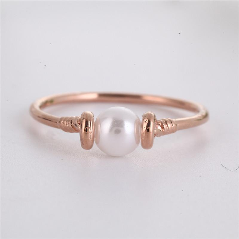 Pearl Wedding Rings.Simple Dainty Simulated Pearl Wedding Ring For Women Jewelry Elegant Top Cubic Zirconia Rose Gold Color Engagement Rings Z3d073