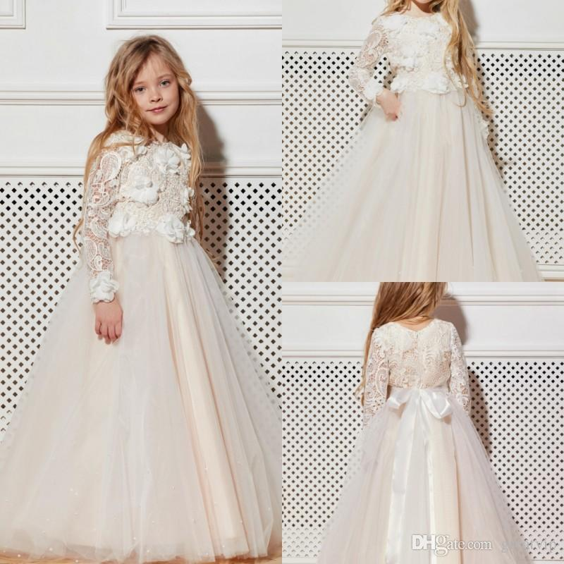 Princess Ivory Flowers Girls Dresses Lace Applique Long Sleeve Tulle ...