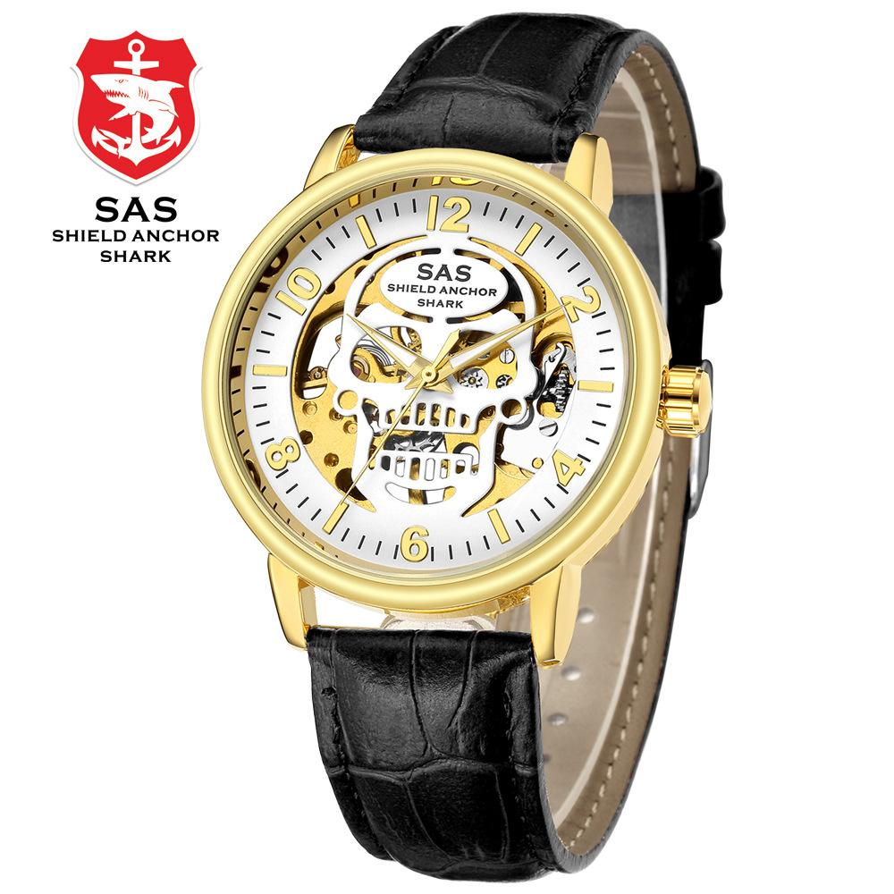 casual mens wristwatch Hollow leather Automatic mechanical man watch  waterproof SAS Shield Anchor Shark brand men's clocks