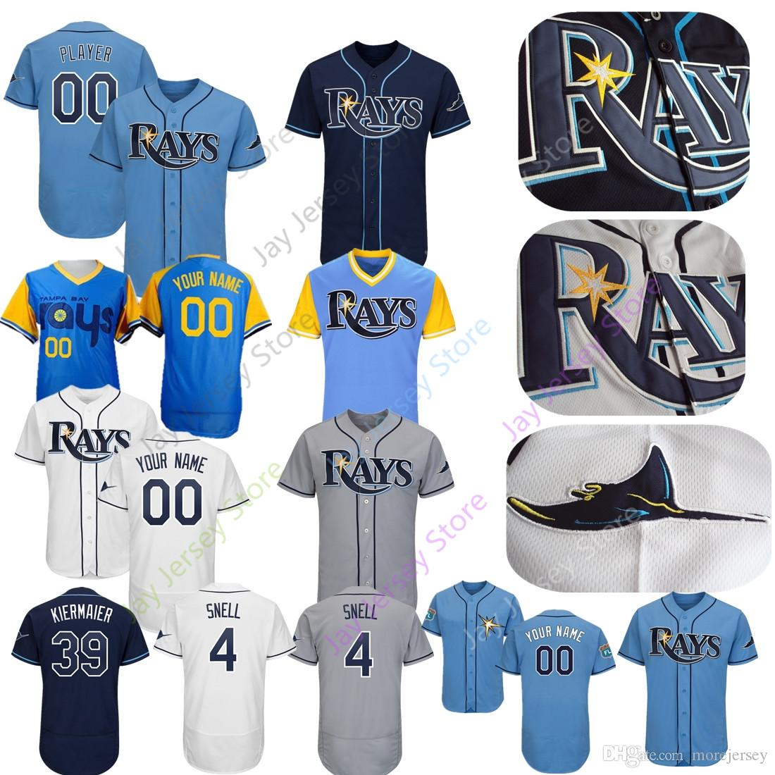 new style 6763d 4883f Custom Rays Jersey Tyler Glasnow Garcia Tampa Bay Choi Robertson Kiermaier  Morton Heredia Zimmer Men Women Youth