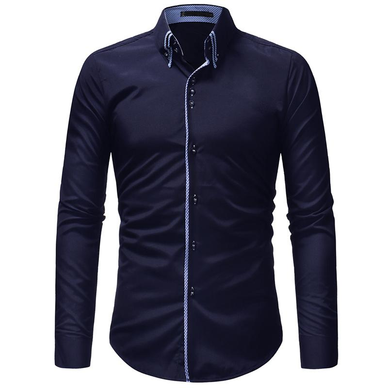 Men Shirt 2019 Autumn Winter New Fashion Casual Dress Shirt Social Business Long-sleeved Double Collar Design Clothing