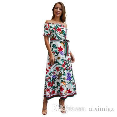 9fc8184172 2019 Fashion Digital Printied Dresses Of Women,Nice Summer Beach Vacation  Dress,Beauty And Sexy Slash Neck Split Style Long Cocktail Dresses Elegant  Evening ...