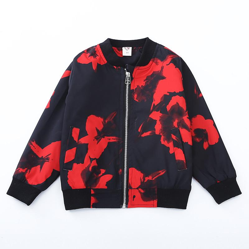 b9058d35094 Black Red Floral Boys Clothing Jackets Coats 2019 Casual Print Cute Boy  Outerwear Long Sleeve O Neck Kids Children Clothes Jk183 Girls Quilted  Jacket Navy ...