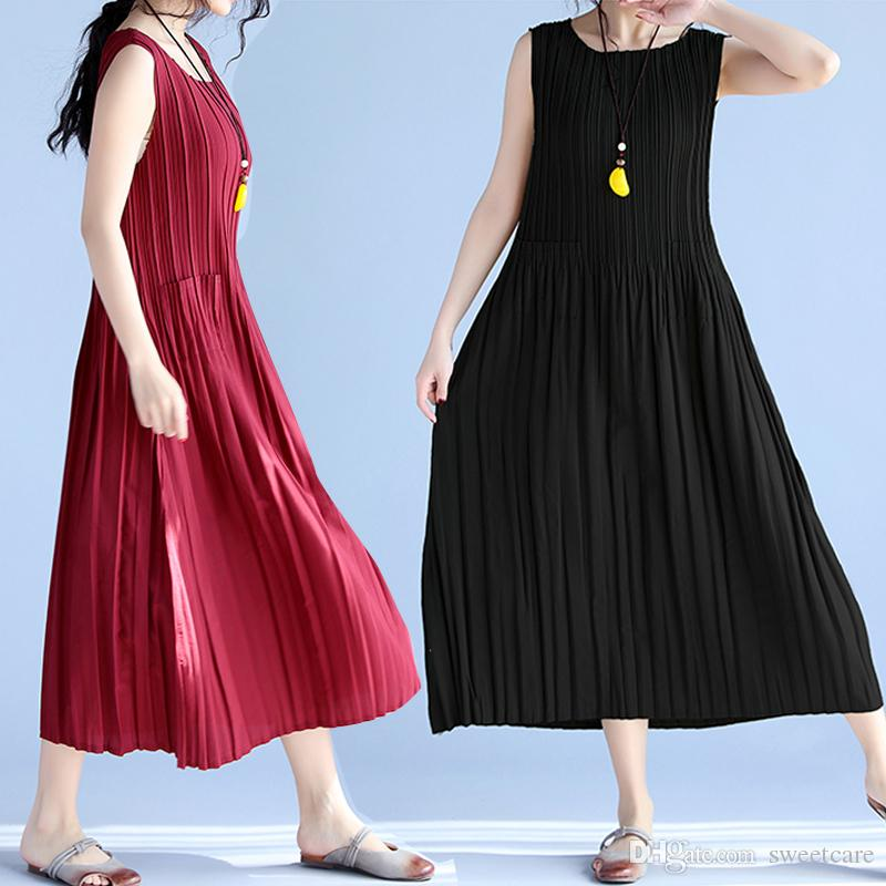 9641b288e82a Women Summer Chiffon Sleeveless Beach Party Pleated Loose Swing Casual  Round Neck Midi Length Dress With Pockets Cute Dresses Red Dresses From  Sweetcare, ...