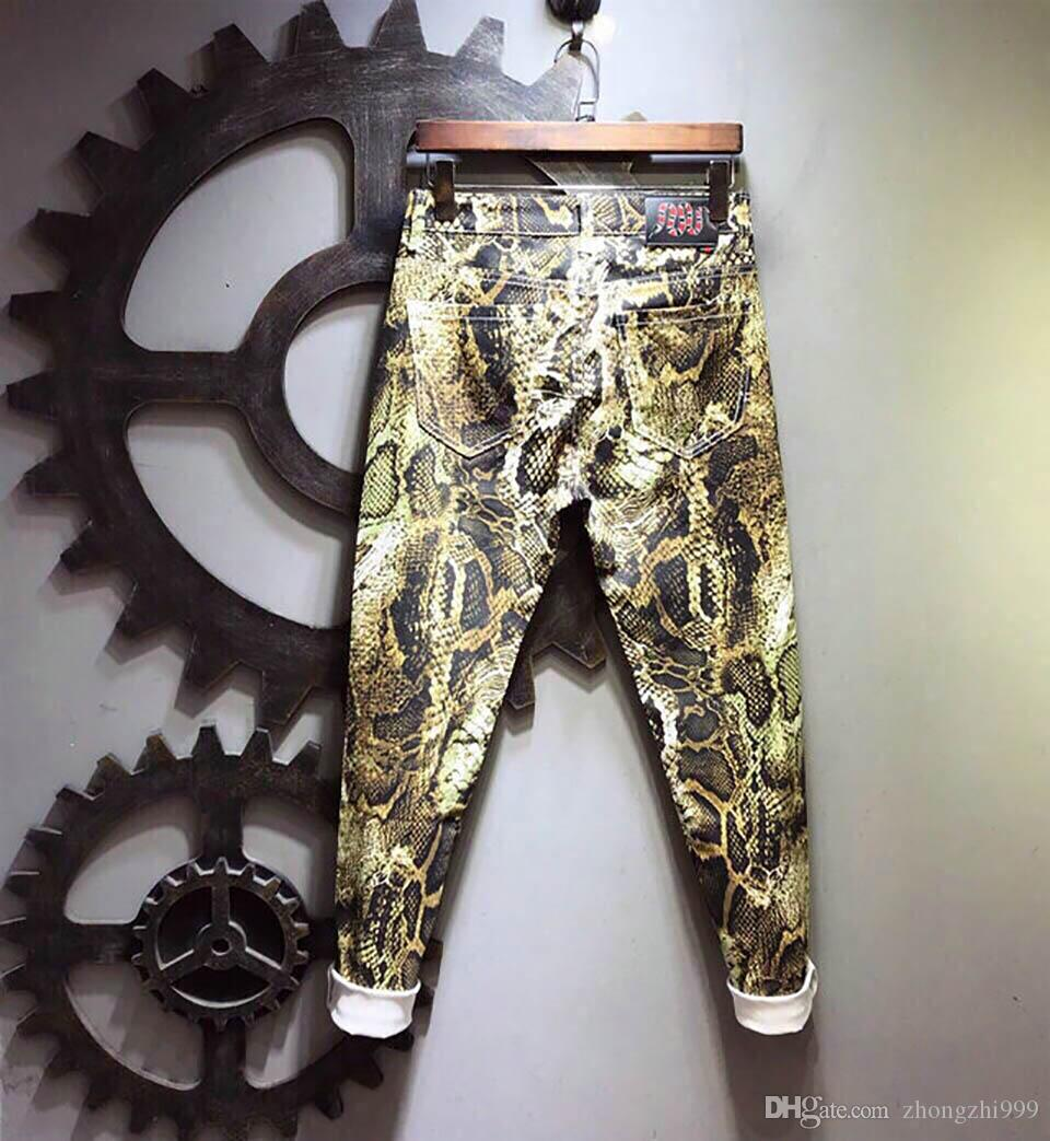 GG Mens Designer Jeans Trend Luxury Slim Printed Trousers Casual Fashion Street Hip hop jeans High quality Custom Brand Motorcycle pants