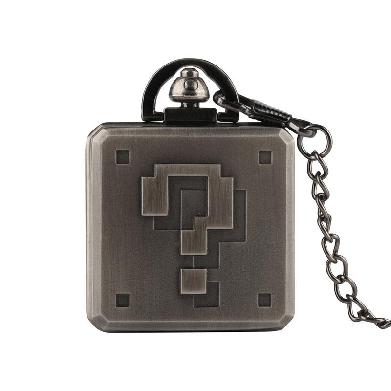 Point d'interrogation rétro conception montre de poche pour hommes femmes Creative Steampunk Square Box Design Cool collier chaîne horloge cadeaux enfants