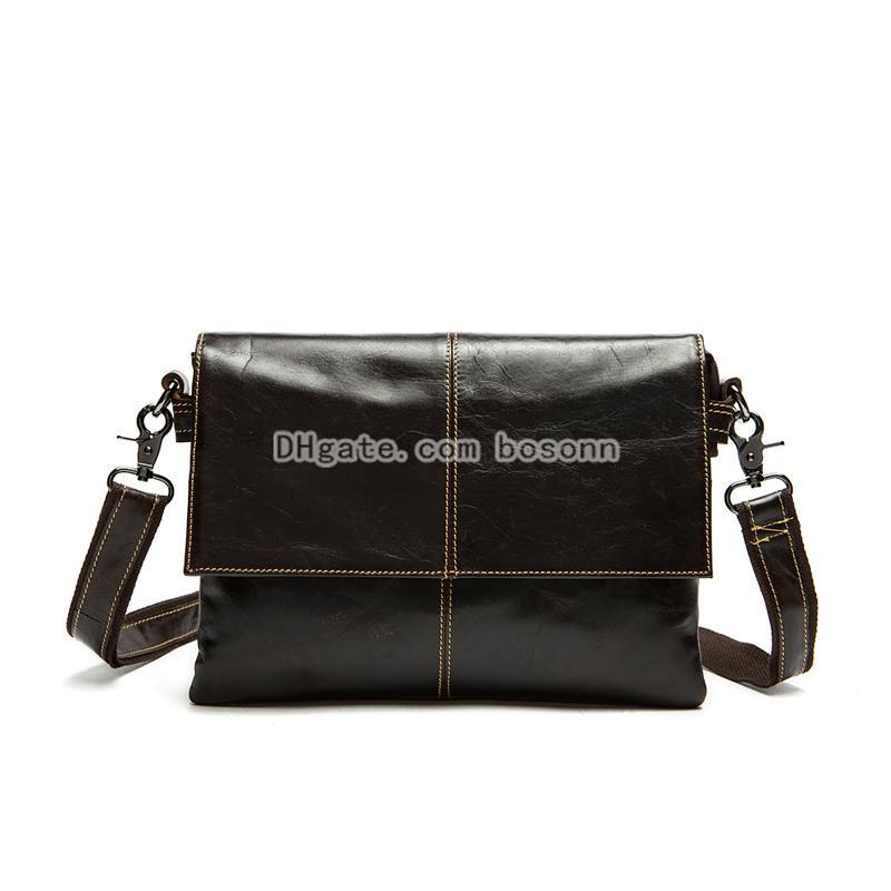 cd196786bd NEW Genuine Leather Single Shoulder Bags Men s Double Layer Pocket ...