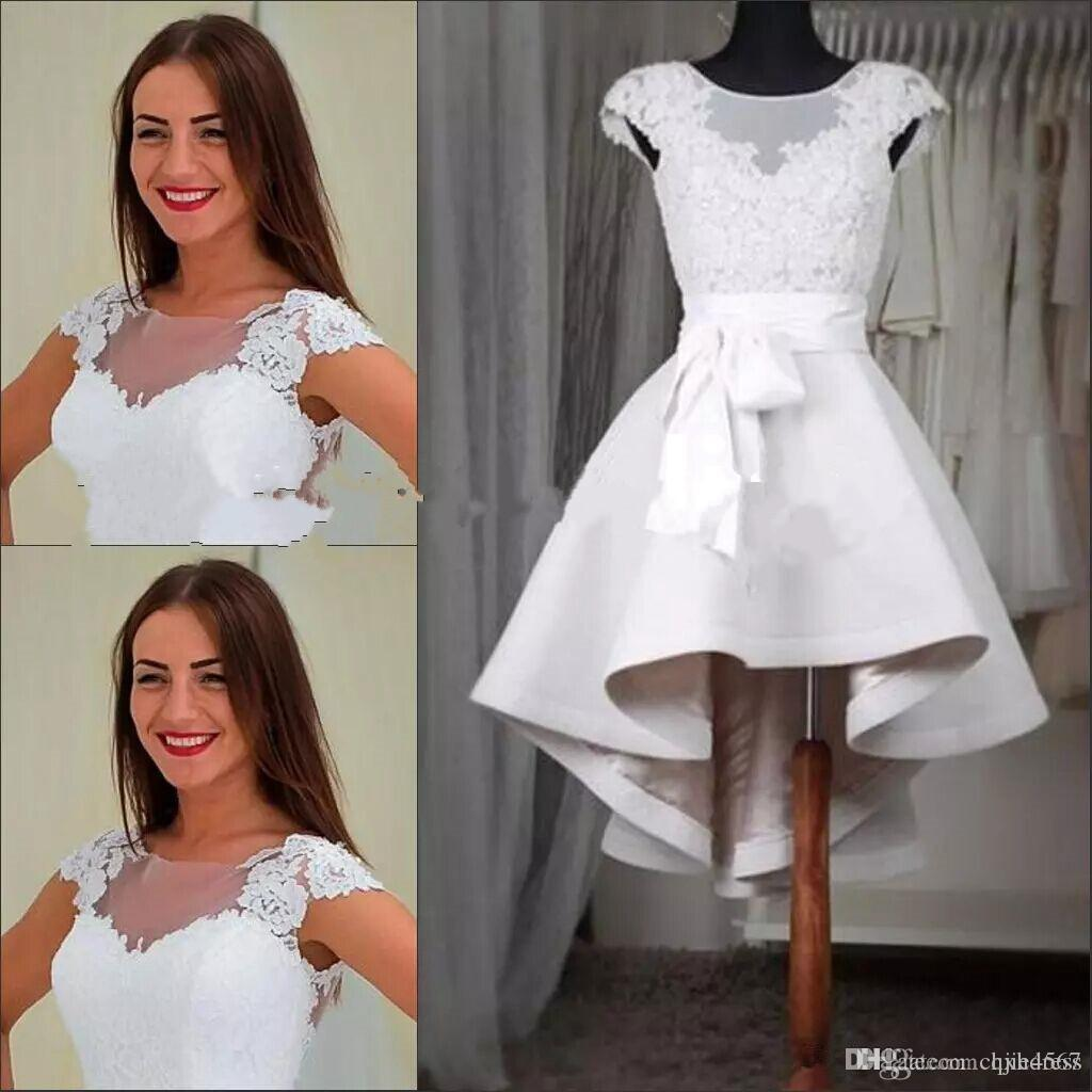 Elegant White Lace Short Homecoming Dresses Cap Sleeves Sheer Crew Appliques Lace Satin High Low Prom Dresses Custom Made Party Gowns A198