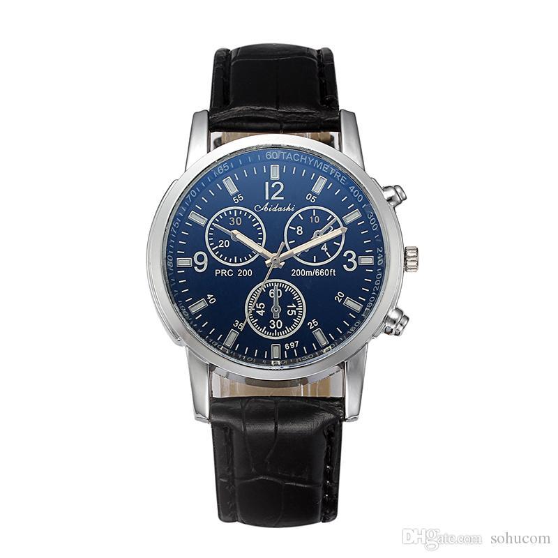 cfaa70d212bb Acheter Bracelet En Cuir De Mode Montres Hommes En Verre Trois Yeux Horloge  À Quartz Business Étanche Genève Montre Bracelet 2018 De  6.22 Du Sohucom  ...