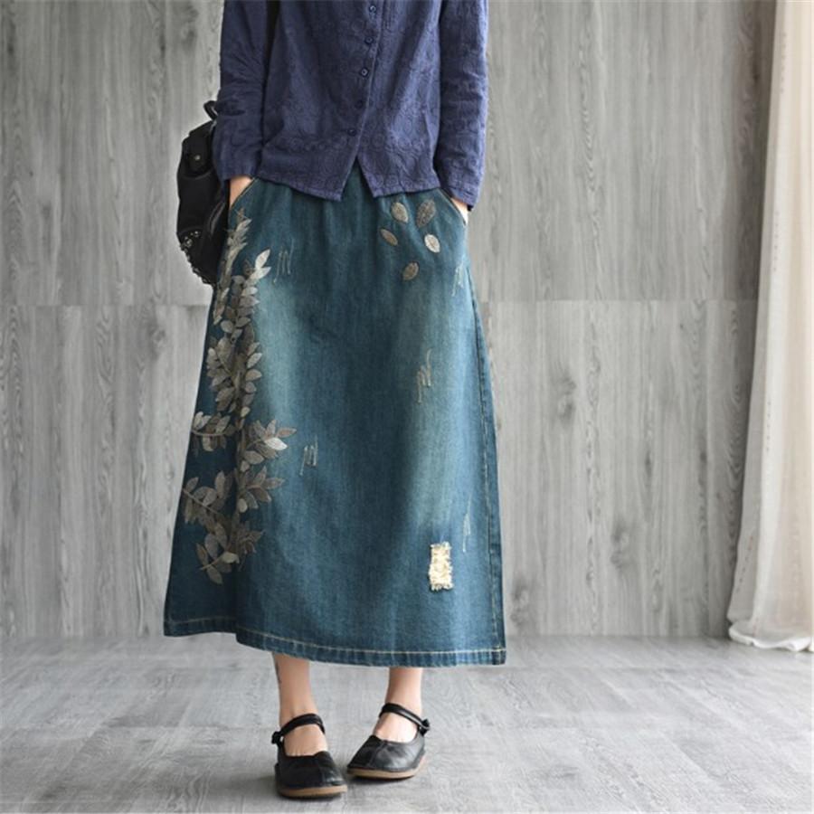 b44350129 2019 Vintage Denim Skirt Women Spring Cotton Leaves Embroidery Midi A Line  Skirt Elastic Waist Elegant Jeans Feminino Ds50522 From Blackbirdd