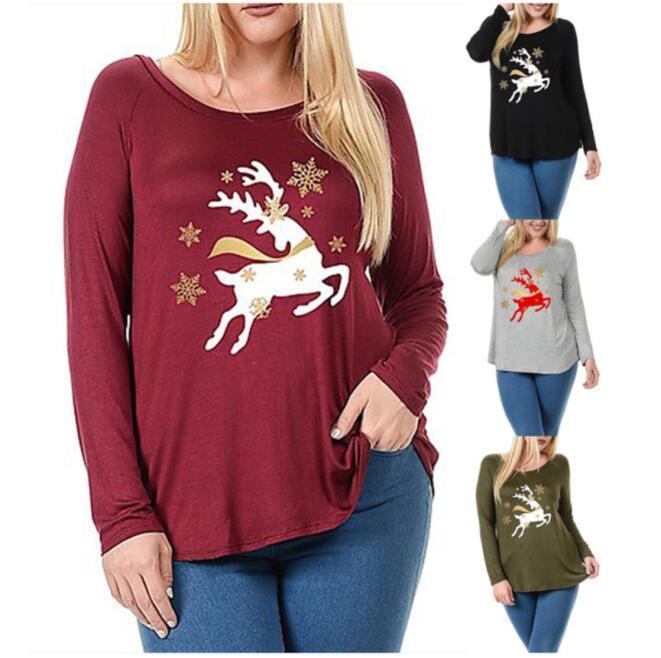 efae7071f17 2019 Plus Size Womens Christmas T Shirt Deer Printed Loose Plus Size Letter  T Shirt For Women Tops Blusas Tee Shirts LJJK1138 From B2b life