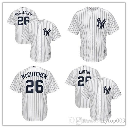 best loved 2b94a 1bd79 custom 2019 Men's Yankees 26 McCutchen New York White Official Cool Base  Player women kids Jersey
