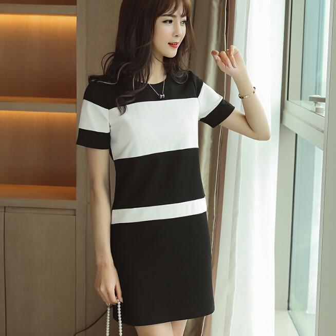6f8d563ac74 Summer Dress Women Clothing Short Sleeve Bodycon Dress Cute Slim Black White  Patchwork Dress Fashion Girl Vestidos Black Cocktail Party Dress Long  Dresses ...