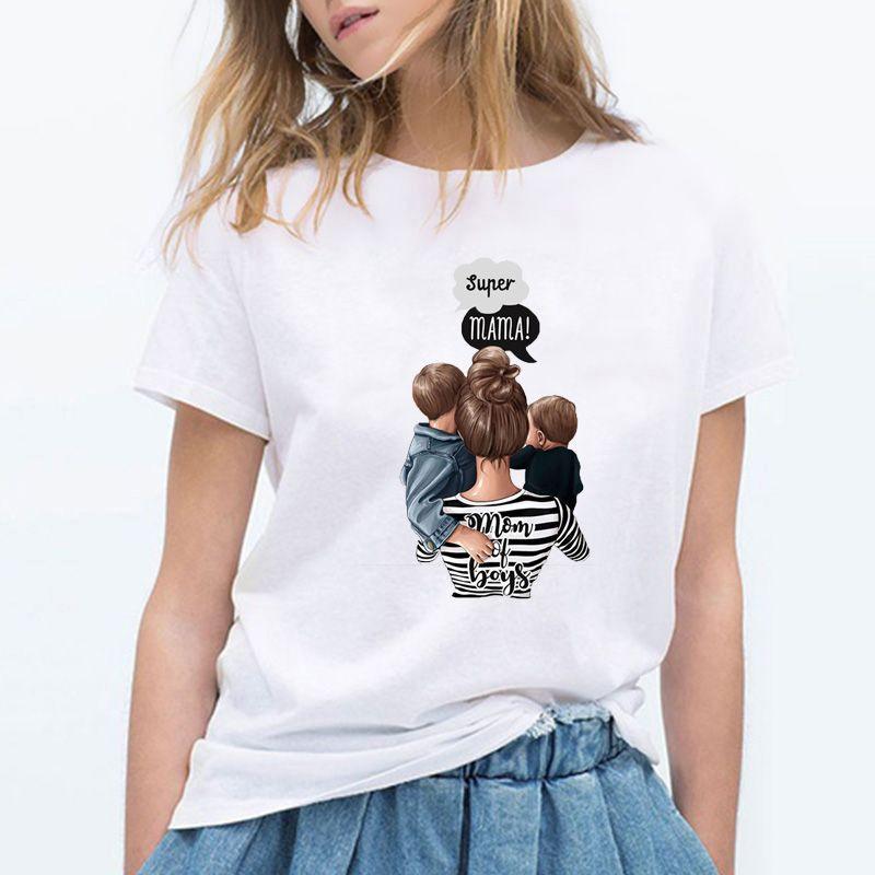 7b5df154a Compre 2019 Super Mama Carta Imprimir Verano Camiseta Mujeres Tumblr Camisa  Casual Mujer Día Del Día De La Madre De Regalo Más Tamaño O Cuello Lindo  Tops La ...