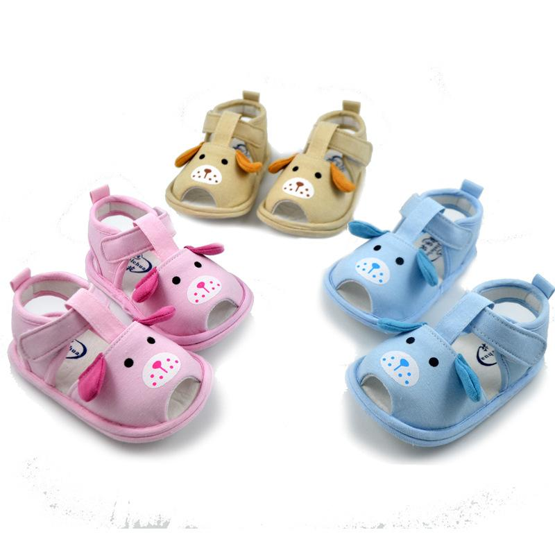 2019 Summer Cotton cloth Boys Girls Flat Sandals Cartoon Dog Breathable Baby Hollow Toddler Children Shoes Cute Dog Head Sandals