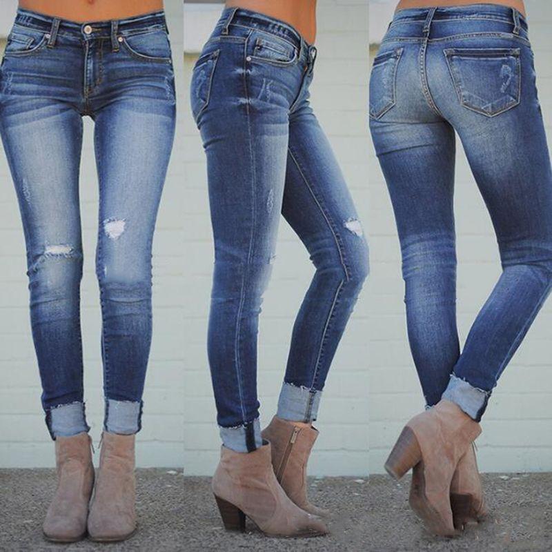 Acquista Jeans Slim Donna Pantaloni Sexy Denim High Street Pantaloni Lunghi  Skinny Zipper Streetwear Outdoor Lift The Hips Jeans Blu Fashion A  36.57  Dal ... 51a6261d81c