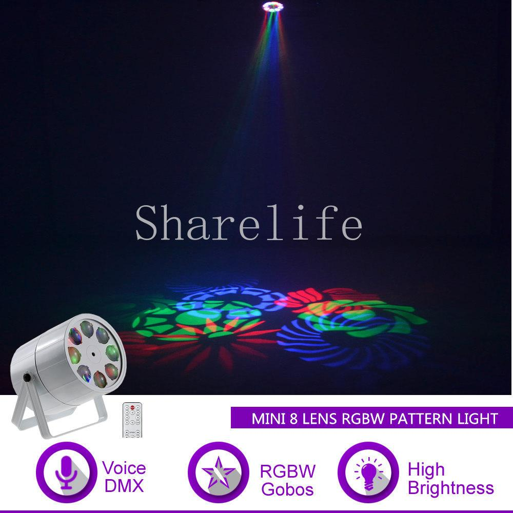 Sharelife Mini 8 Lens RGBW Patterns LED Ruota DMX Sound per Club Bar DJ Light Home Gig Party KTV Mostra Stage Lighting Effect M8Y