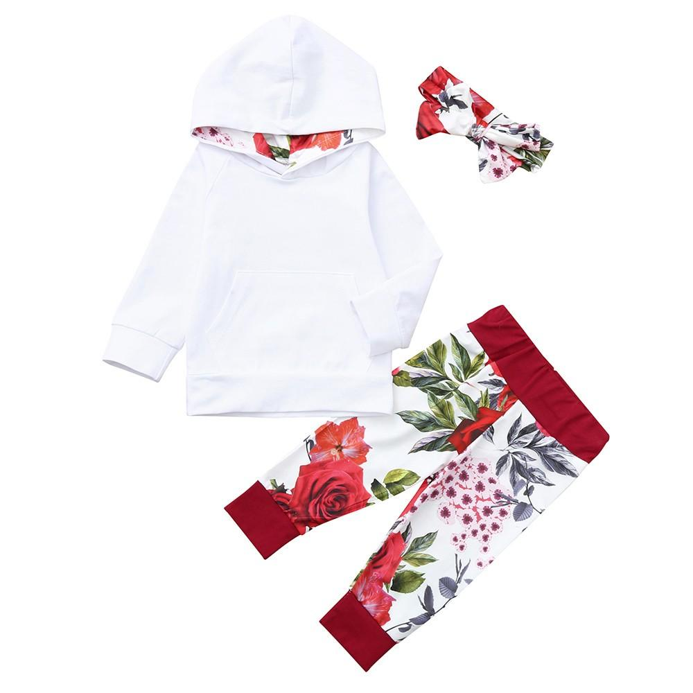 e88abb4d7ad Baby Long Sleeve Pocket Hooded Sweater + Rose Pants + Hair Band Three-Piece  Suit Set Newborn Baby Beauty Soft outfits Fashion
