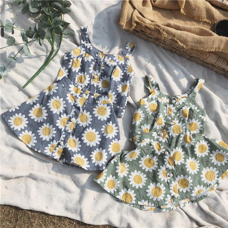 2019 Summer New Girls Sleeveless Tops with Skirt Sunflower Suit Baby Kids Cotton Vest+shirts Two Pieces Set Toddler Cloth Sets