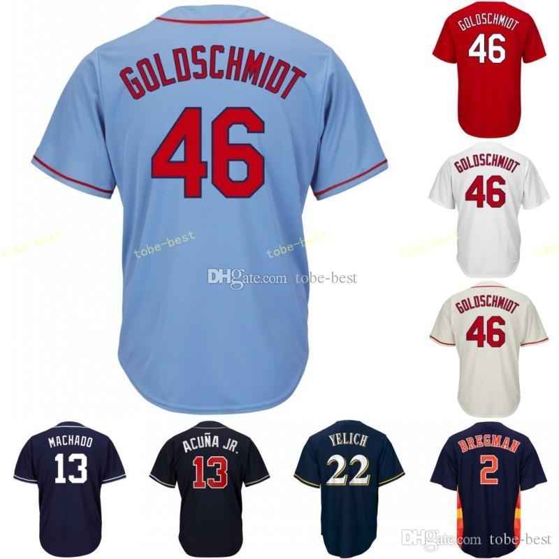 c9cd8061 St. Louis Jersey 46 Paul Goldschmidt Cardinals Stitched Men's Majestic  Alternate White Red Blue Cream Official Cool Base Baseball Jerse