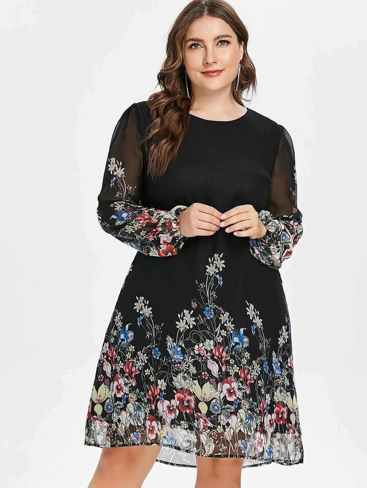Plus Size Floral Print Tunic Women Dress Long Sleeve Autumn Elegant Tribal  Flower Print Vocation Shirt Dress Chiffon 5xl