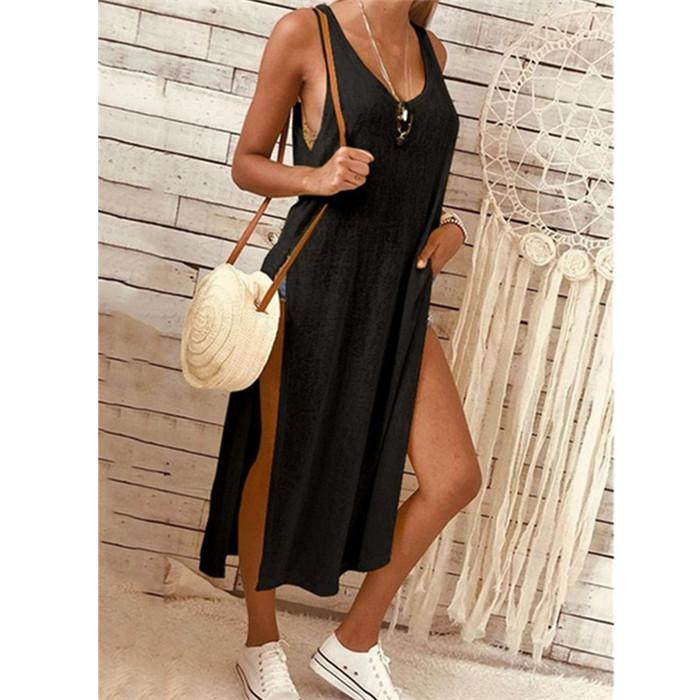 Womens Solid Color Fashion Slit Dress Summer Sleeveless Loose Short Sleeve Roun Neck Sexy Tops Dress
