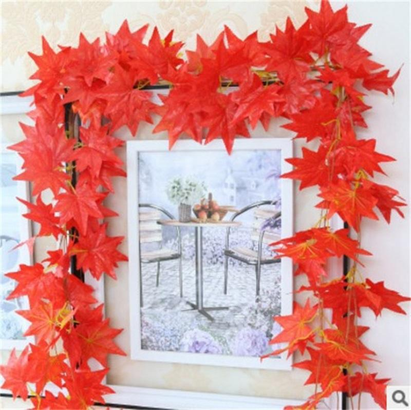 Decorative Flower Red Maple Leaf Wreaths Pure Handwork Wall Hanging Plastic Flowers Ivy Plants Conduit Suspended Ceiling Floriculture 3 1cl