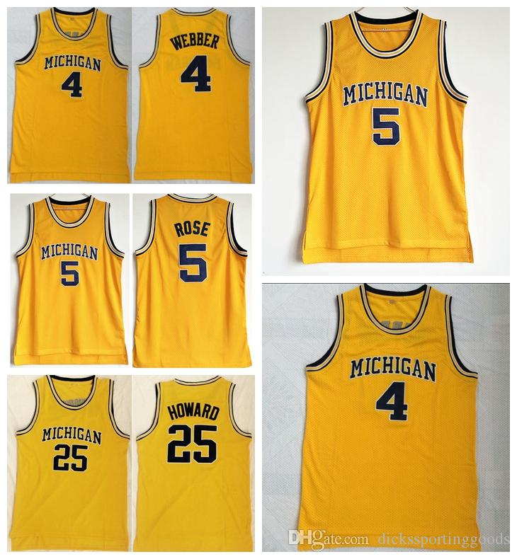 sports shoes 07897 4eb57 NCAA College Men Basketball 5 Jalen Rose Jersey Michigan Wolverines 4 Chris  Webber 25 Juwan Howard Jerseys Team Color Yellow Free Shipping