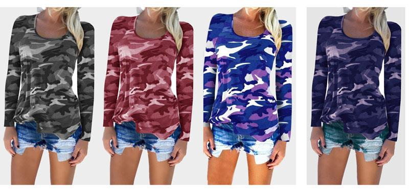 351c6349735e5 Ladies Casual Camouflage T Shirt Long Sleeve Casual Loose Tops Crew Neck  Blouses Tank Tops Vest Camo Shirts For Women Funniest T Shirts Mens Funny T  Shirts ...