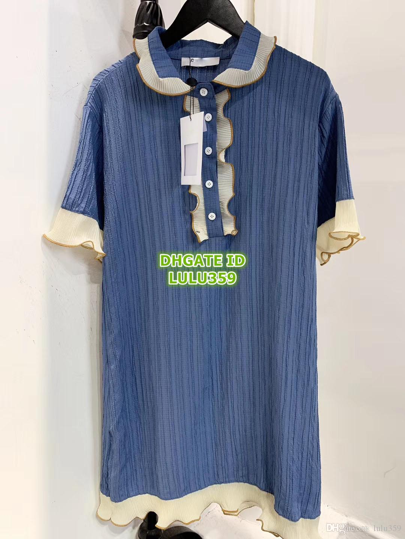 Encima Las Solapa Mini Calidad Madera Azul Camiseta La Alta De Por Rodilla Mujeres Camisa 2019 Vestido Oreja OZTPkXiu