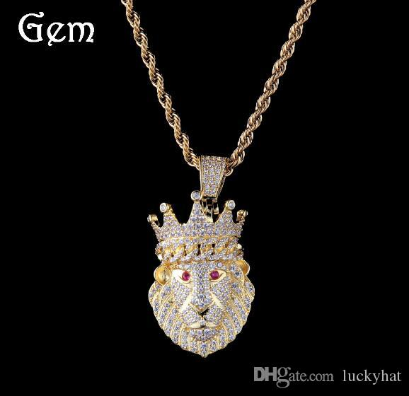 new style hot 3mm twist chain popular hiphop crown lion pendant necklace gold color silver necklace jewelry awesome pendant necklace 24inch