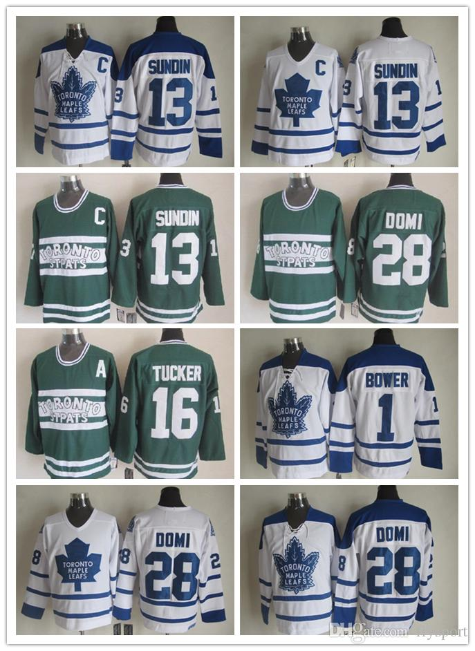 Mens Toronto Maple Leafs Hockey Jerseys 13 Mats Sundin 28 Tie Domi 1 Johnny Bower 16 Darcy Tucker Vintage Classic White Green