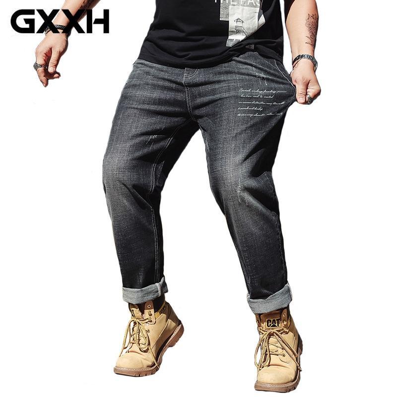 281485cce2 Compre GXXH Hombres 2018 Nuevo Tallas Grandes 30 46 Pantalones Vaqueros De  Ajuste Elástico Negro Pantalones De Mezclilla Para Hombre Más Grandes 42 44  46 OX ...