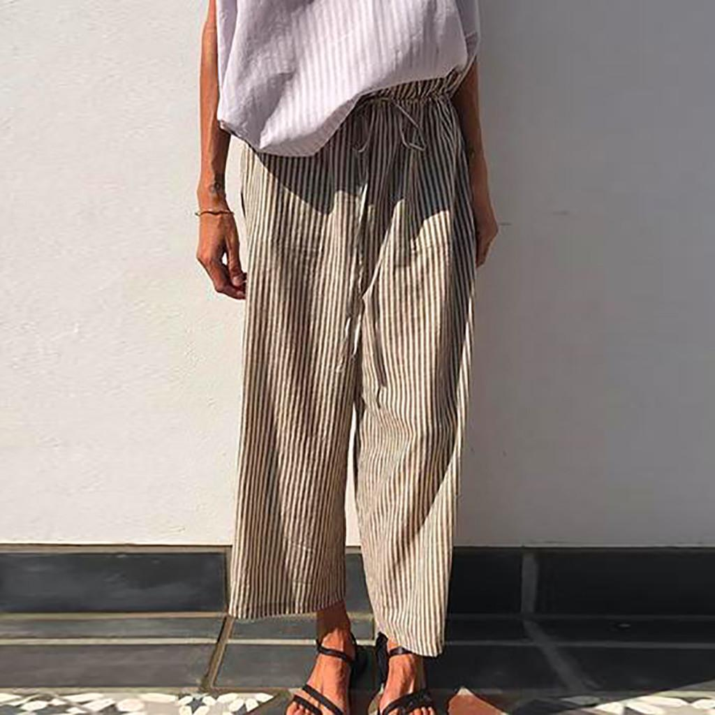 Women's Summer Trousers Female Joggers Palazzo High Waist Wide Leg Culottes Cotton Linen Trousers Loose cargo pants for women