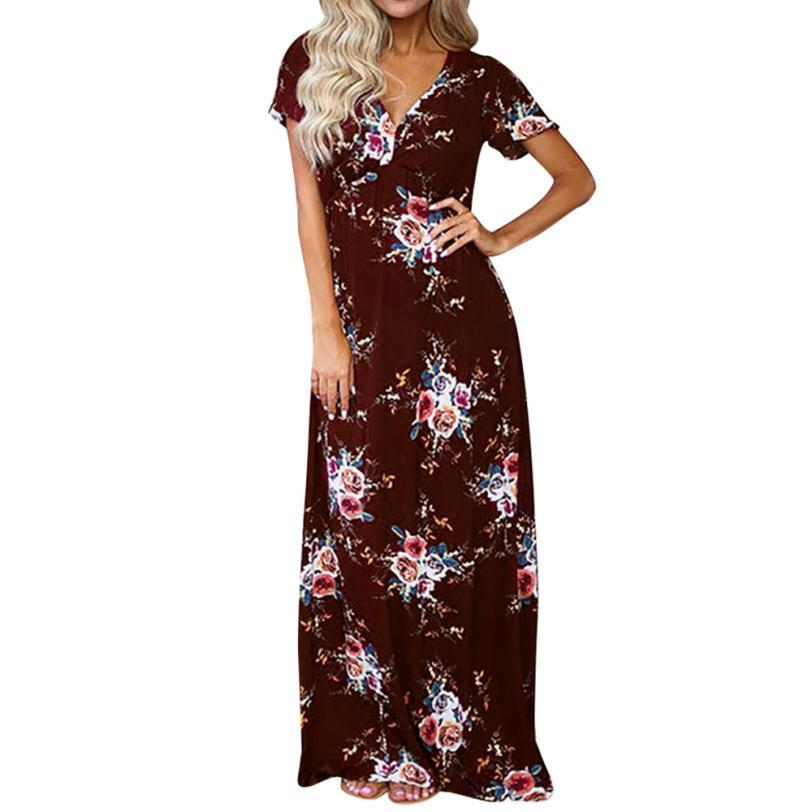 e3b983379527f Womens Maxi Dress Boho Floral 2019 Summer Short Sleeve Long Dresses V Neck Beach  Dresses Vestido De Festa #BF Inexpensive Cocktail Dresses Lace Outfits From  ...