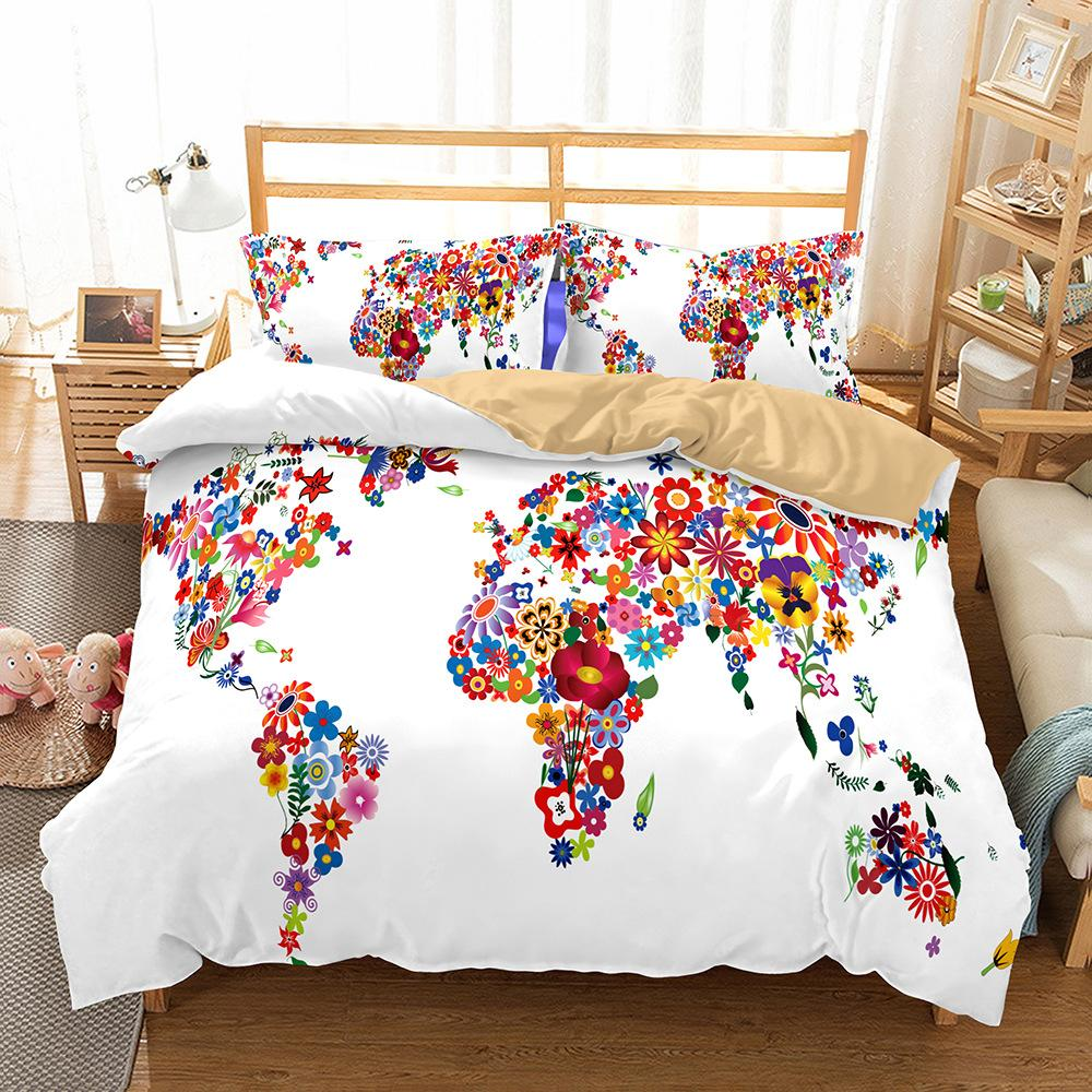World Map Bedding Set High-definition Print Quilt Cover Single Queen ...